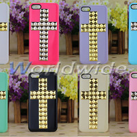 Luxury Silver & Gold Studs Nails Cross Smooth Back Case Cover For iPhone 5 5G