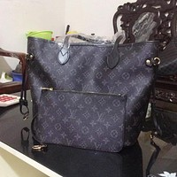 LV Louis Vuitton Classic Popular Women Shopping Bag Leather Handbag Bag Cosmetic Bag Two Piece Set High Quality Black LV Print I/A