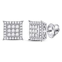 14kt White Gold Women's Diamond Cluster Earrings 1/2 Cttw