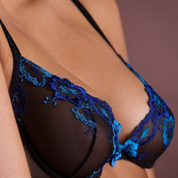 Stunning Sheer Black Bra with Mesmerizing Blue Accents