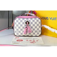 LV Fashion Women's All-Printed Single Shoulder Bag Multicolor Shopping Bag White lattice + pink