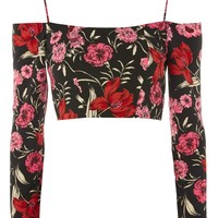 Strappy Floral Bardot Top