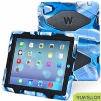 iPad Cases,iPad 2 Case,iPad 3 Case,iPad 4 Case,TRAVELLOR®[Heavy Duty] iPad Case,Three Layer Armor Defender And Full Body Protective Case Cover With Kickstand And Screen Protector for iPad 2/3/4 - Navy/Black