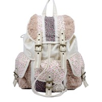 Country Style Fluffy Floral Canvas Backpack Shool Bag