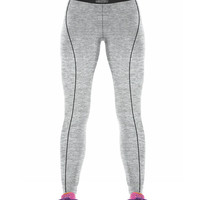 Silver Color Verticle Black Line On High Fashioned Yoga Leggings