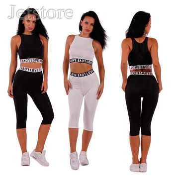 New Arrival Summer Stretch Two Piece outfits Letter Sleeveless Jumpsuit Sexy Women Bodycon Vestido Bandage Cloth Night Clubwear