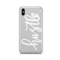 Hustle in White - Clear TPU - iPhone Case