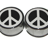 """Peace Sign Plugs - 1 Pair - Sizes 2g, 0g, 00g, 7/16"""", 1/2"""", 9/16"""", 5/8"""", 3/4"""", 7/8"""" & 1"""""""