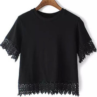 Black Round Neckline Lace Trim Crop Top