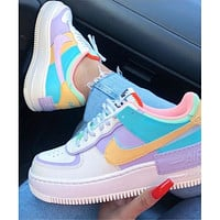 Nike Air Force 1 Shadow Stitching Macaron Candy Powder Ladies Casual Shoes