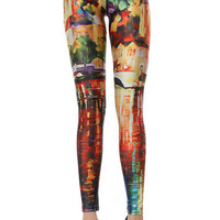 Painting Print Skinny Leggings