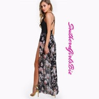 Strappy Back Patchwork Mesh Maxi Dress Slip Floral Summer Surplice Casual Beach Long Dress