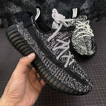 Adidas Yeezy Boost 350 v2 Static Reflective Black FU9007 Sport Running Shoes