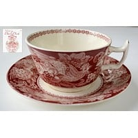 Vintage Red Transferware Tea Cup & Saucer Davenport Roosters Roses Clarice Cliff
