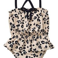 Leopard peplum one-piece