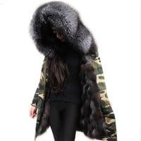 Women Large Real Raccoon Fur Collar Army Camouflage Coats Real Fox Fur Inner Jacket Female hooded Winter Long Jackets