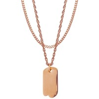 Mister  Micro Tag Necklace - Rose Gold