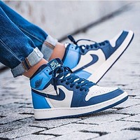 Nike AIR Jordan aj1 high-top women's shoes obsidian North Carolina blue rabbit myna barb soot couple sneakers