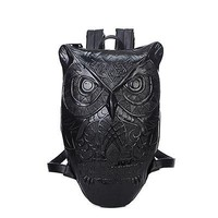 Cool Backpack school 2017 Women hop trend Backpack Cool Black PU Leather 3D Emboss Owl Backpack Female Hot Sale Women Bag AT_52_3