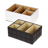 High Quality Luxury PU Leather Cosmetic Organizer Remote Control Phone Holder Home Office Organizer Storage Boxes