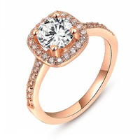 Size 6-9 Available 18K Rose gold GP Crystal Unique Beautiful Ring