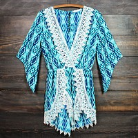 FINAL SALE - blue diamond crochet lace romper