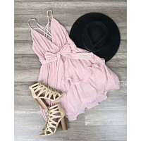 Sabrina Sleeveless Ruffle Trim Criss Cross Dress in Blush