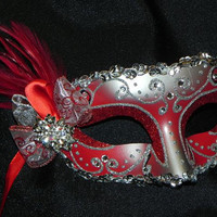 Custom Masquerade Mask in Red and Silver - Made to Order