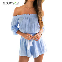 Blue Off Shoulder Rompers Womens Jumpsuit Shorts Beach Playsuit Linen Jumpsuit Cotton Bodysuit Combinaison Femme SN9