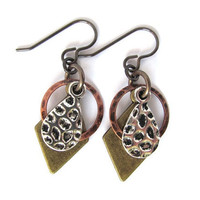Dangle Earrings Drop Mixed Metals Brass Silver Copper Charms Jewelry by Hendywood