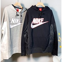 NIKE Autumn And Winter Fashion New Letter Hook Print Hooded Long Sleeve Sweater