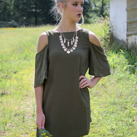 Through The Vine Olive Scoop Neck Cold Shoulder Shift Dress