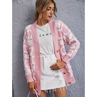 Allover Heart Button Up Cardigan