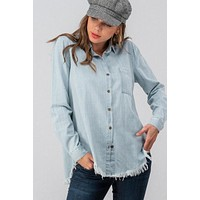 Cora Raw Edge Denim Top
