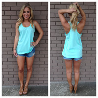 Mint T-Back Cotton Tank