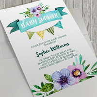 Printable Baby Shower Invitation, Floral Baby Shower, 5x7 In, Flower Baby Shower,Pennant Flags, Aqua Watercolor, Bridal Shower Option