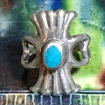 Navajo Sand Cast Turquoise Ring Sterling Silver