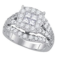 14kt White Gold Women's Princess Round Diamond Soleil Cluster Bridal Wedding Engagement Ring 2-1/2 Cttw - FREE Shipping (US/CAN)