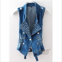 Retro style slim sleeveless denim vest with sparkles [115]