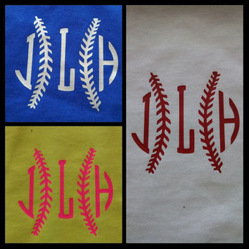 Personalized Initial with baseball Seams ~ Great for Mom's with Team Spirit