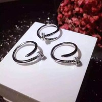 Top quality 316L stainless steel cart nail love rings for women men couple engagement ring engraved logo not fade