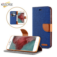 KISSCASE Book Flip Cloth Skin Leather Case For iPhone 6 7 6S Case Hit Color Full Protective Accessories Cover iPhone 7 6 6S Plus