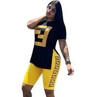 FENDI Women Casual Fashion Shirt Top Tee Shorts Set Two-Piece