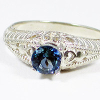 Neptune Garden Topaz Filigree Ring Sterling Silver, Rainbow Topaz Ring, Sterling Topaz Ring, Filigree Ring