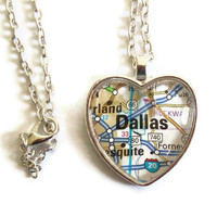 Dallas Map Necklace, Texas,  Heart Pendant with Chain