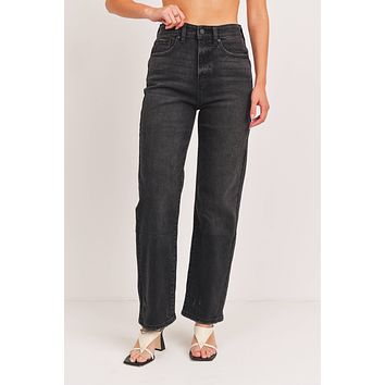 Washed Black Straight Leg Jeans