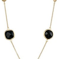 """Black Glass and Gold Plated Brass Station Necklace, 33""""+2"""" Extender"""