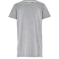 River Island Boys grey zip hem t-shirt