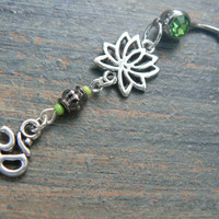 zen belly ring  GREEN ohm lotus flower belly ring om meditation yoga Indie new age boho gypsy hippie belly dancer beach and hipster style