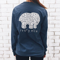 Elephant Print Long Sleeve Women Top Loose Cotton T-shirt - DB